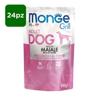 Monge Grill Dog Adult ricco in Maiale 24x100gr