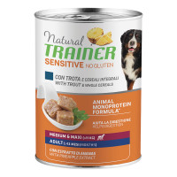 Natural Trainer Dog Sensitive No Gluten Medium&Maxi Adult con Trota e Cereali integrali 400 gr.