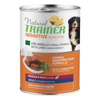 Natural Trainer Dog Sensitive No Gluten Medium&Maxi Adult con Agnello e Cereali integrali 400 gr.