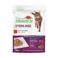 Natural Trainer Sterilised cat con Manzo 85 gr