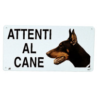 "Camon Targa in metallo ""Attenti al cane"""